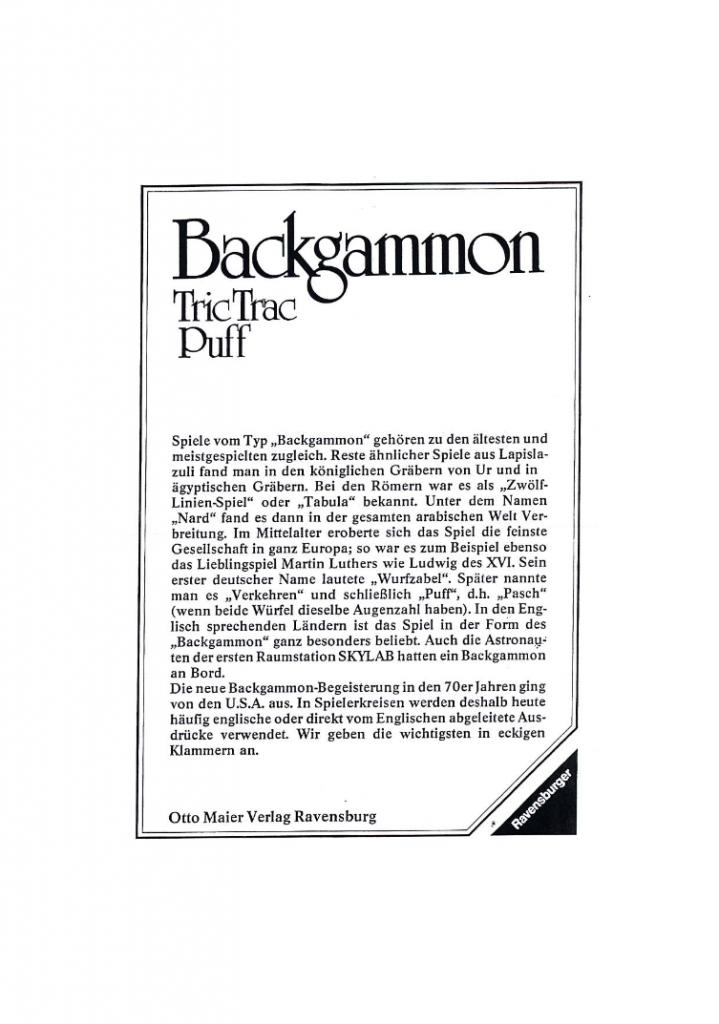 ᐅ Backgammon Tric Trac Puff Spielregeln Spielanleitungen Sowie