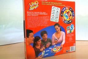 Uno Spin Spielkarton Rückseite