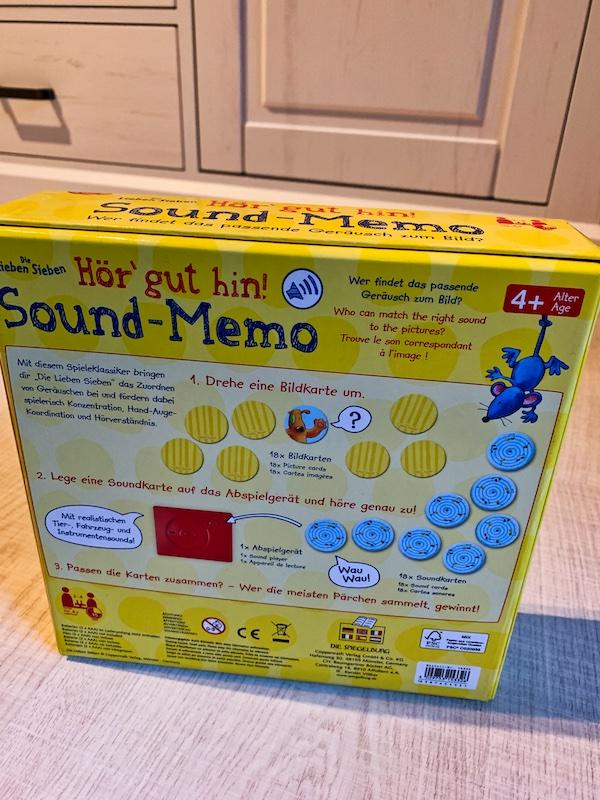 Sound Memory - Memory Spiel Karton Rückseite